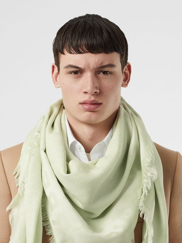 Monogram Silk Wool Jacquard Large Square Scarf in Pistachio | Burberry - cell image 3