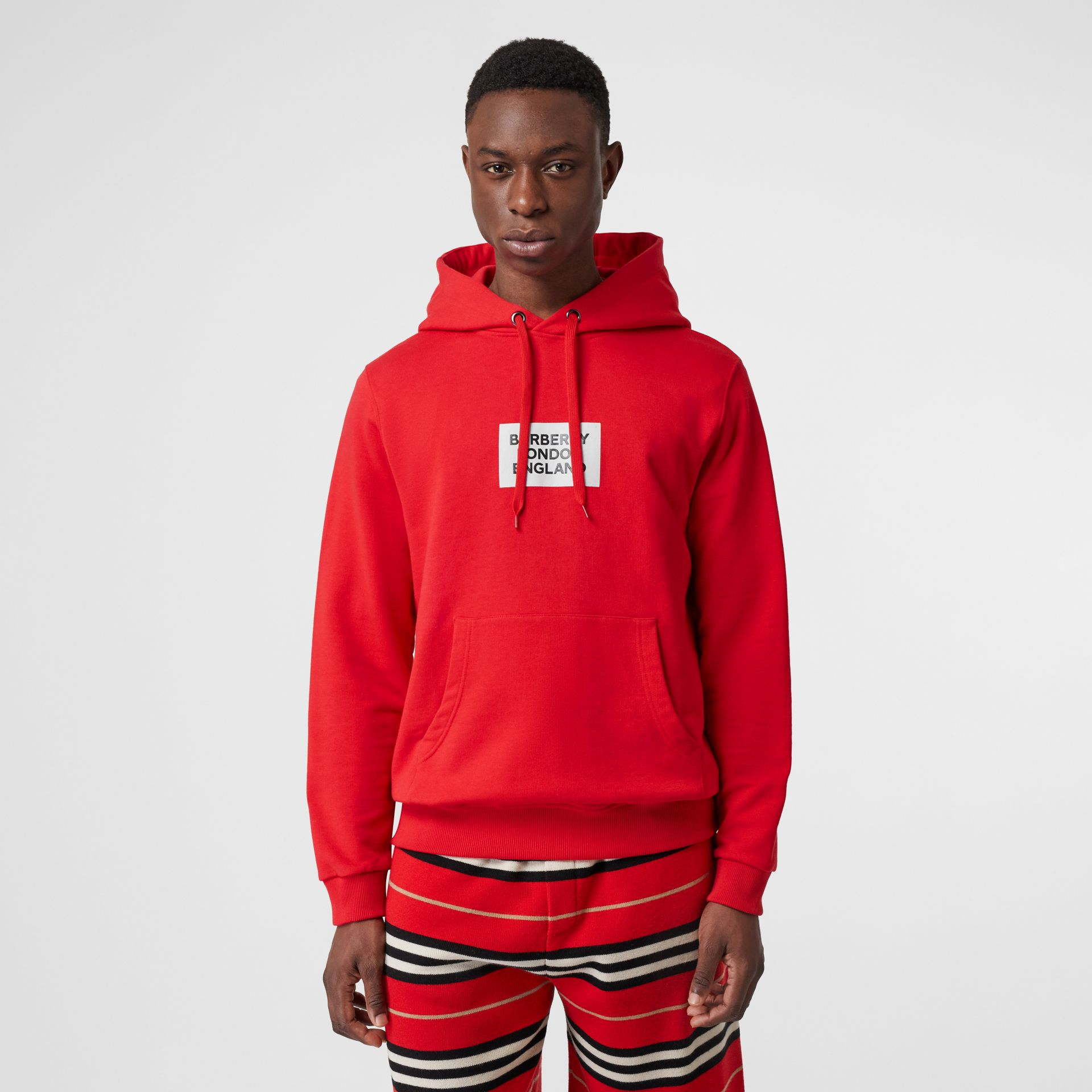 Logo Print Cotton Hoodie in Bright Red - Men | Burberry - gallery image 4