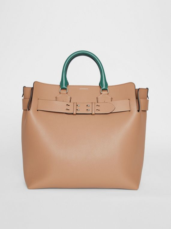Grand sac The Belt en cuir tricolore (Camel Clair)
