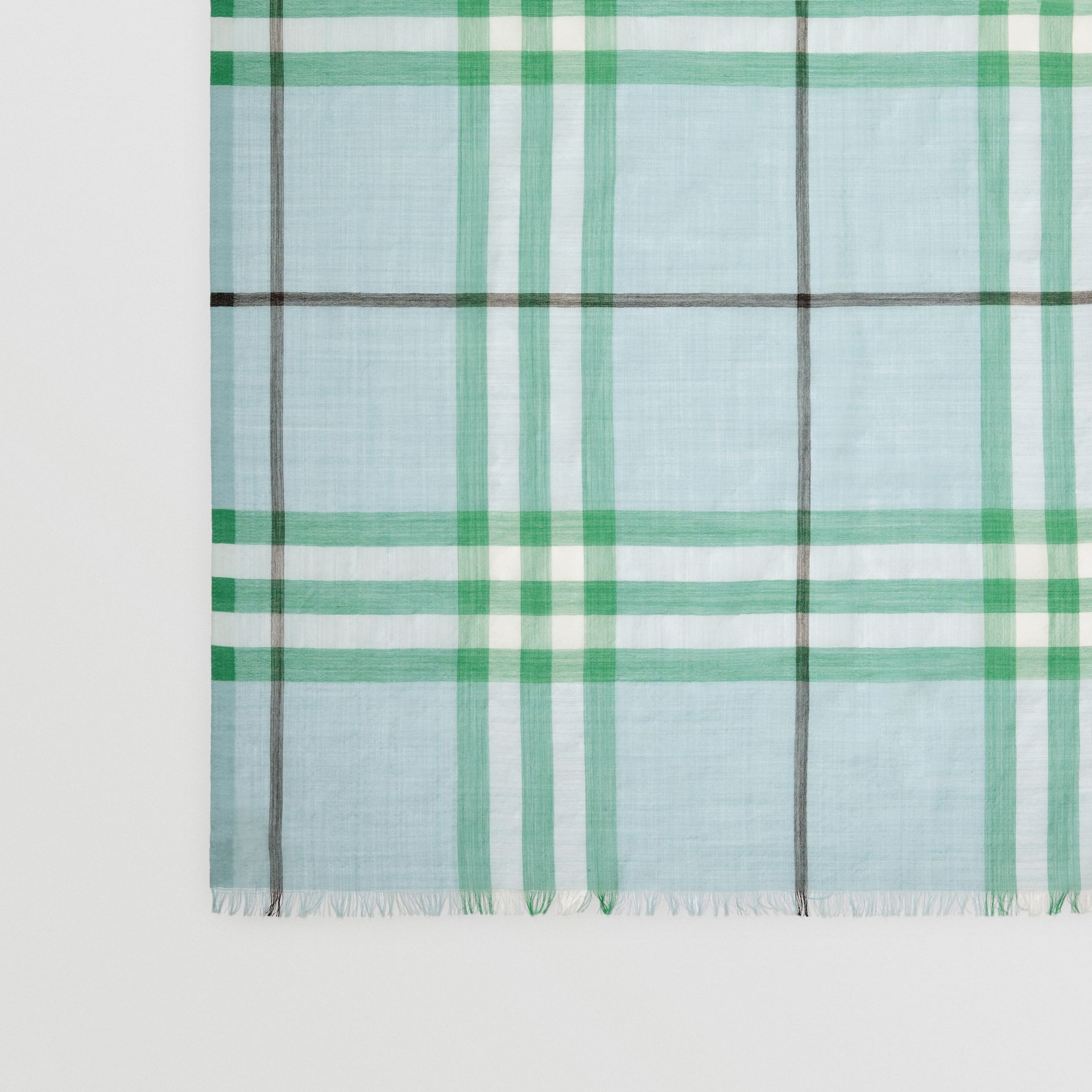 Lightweight Check Wool and Silk Scarf in Pale Peridot Blue | Burberry Australia - gallery image 1