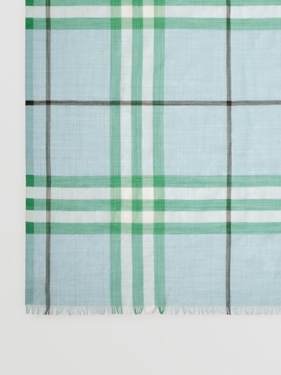 Lightweight Check Wool and Silk Scarf in Pale Peridot Blue | Burberry - cell image 1