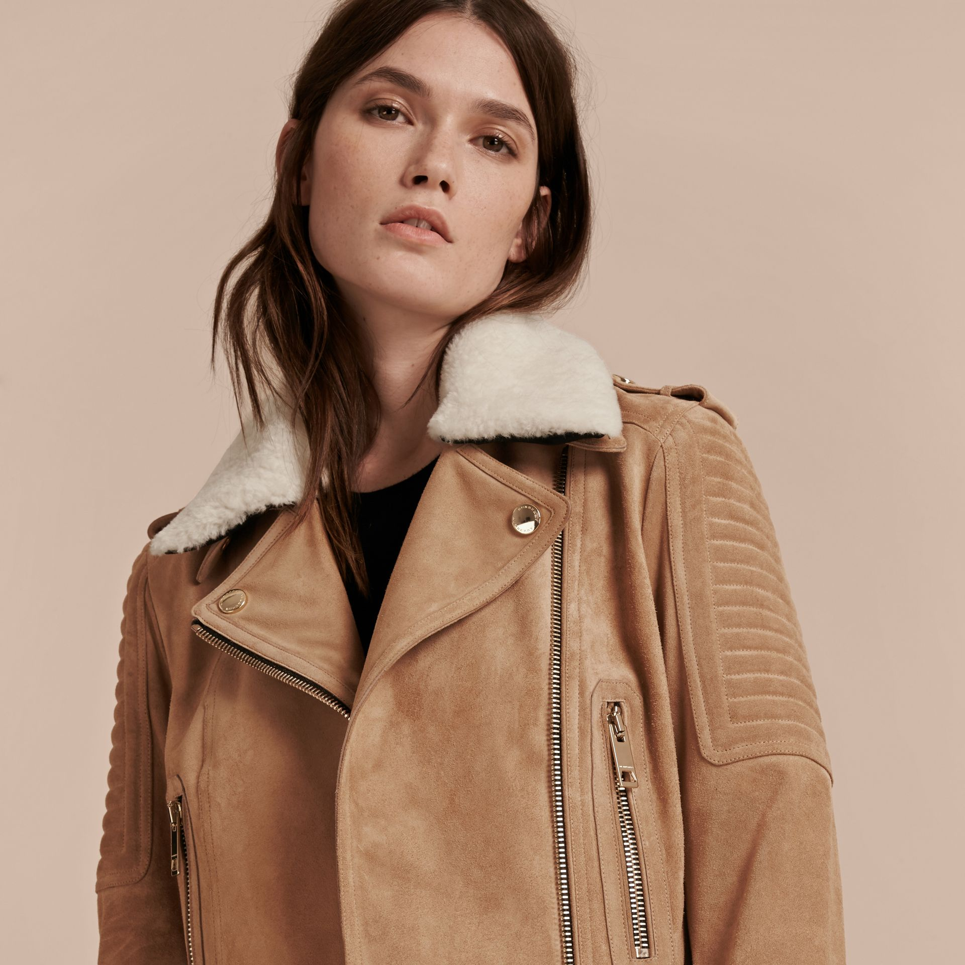 Honey Suede Biker Jacket with Shearling Topcollar - gallery image 5