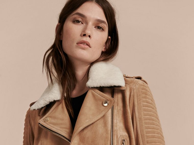 Honey Suede Biker Jacket with Shearling Collar - cell image 4