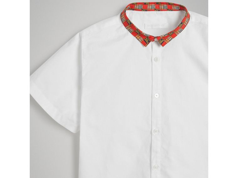 Short-sleeve Tiled Archive Print Collar Cotton Shirt in White - Boy | Burberry - cell image 4