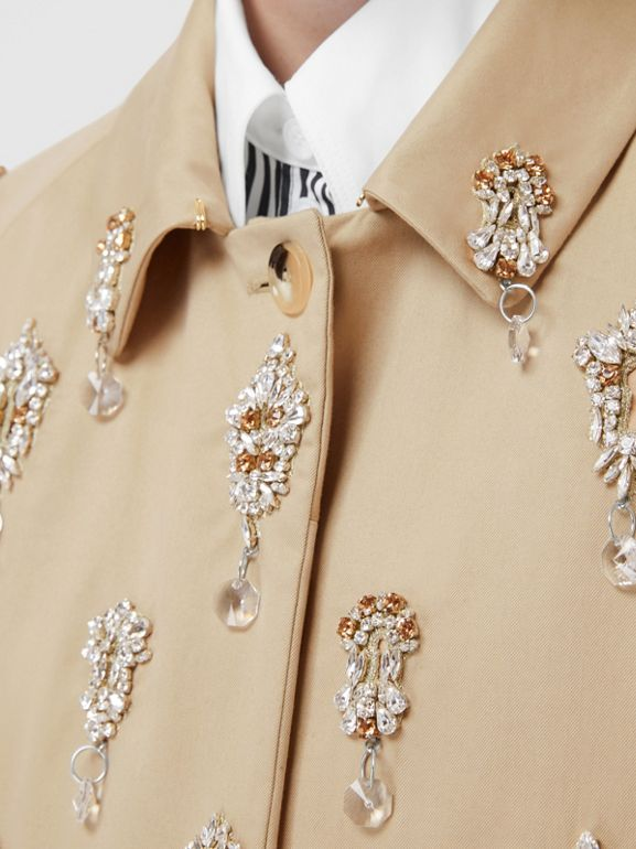 Embellished Cotton Twill Car Coat in Soft Fawn - Women | Burberry - cell image 1