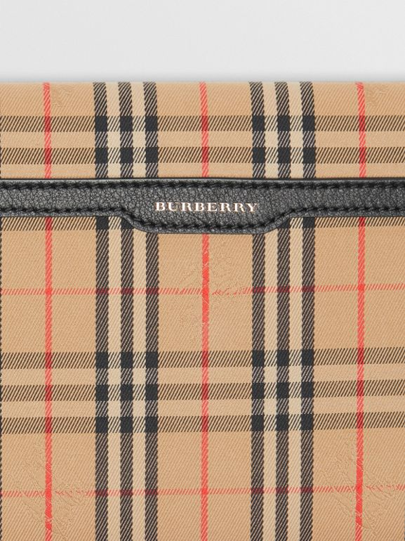 Medium 1983 Check and Leather Envelope Pouch in Black - Women | Burberry United Kingdom - cell image 1