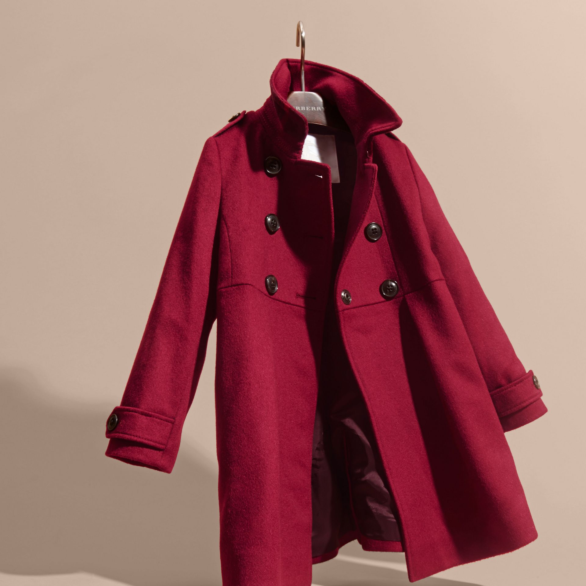 Cherry pink Cashmere Military Coat Cherry Pink - gallery image 3