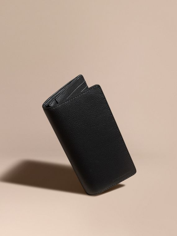 Grainy Leather Continental Wallet Black