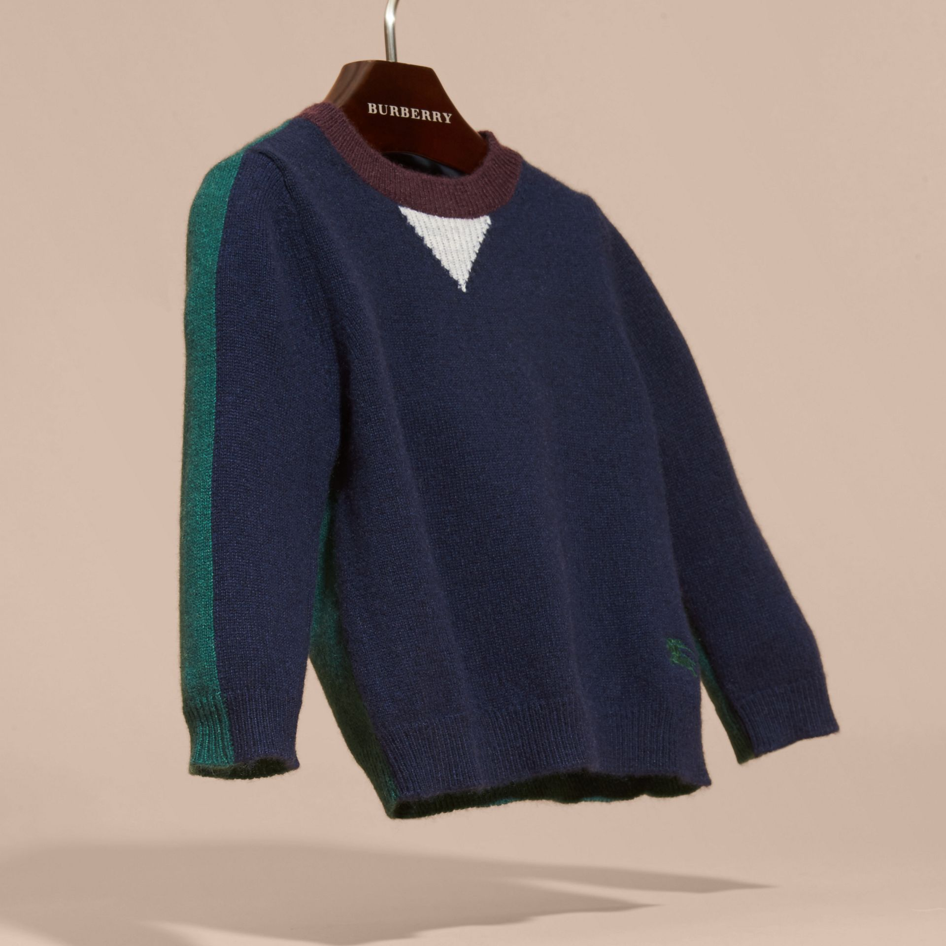 Navy Colour Block Cashmere Sweater - gallery image 3