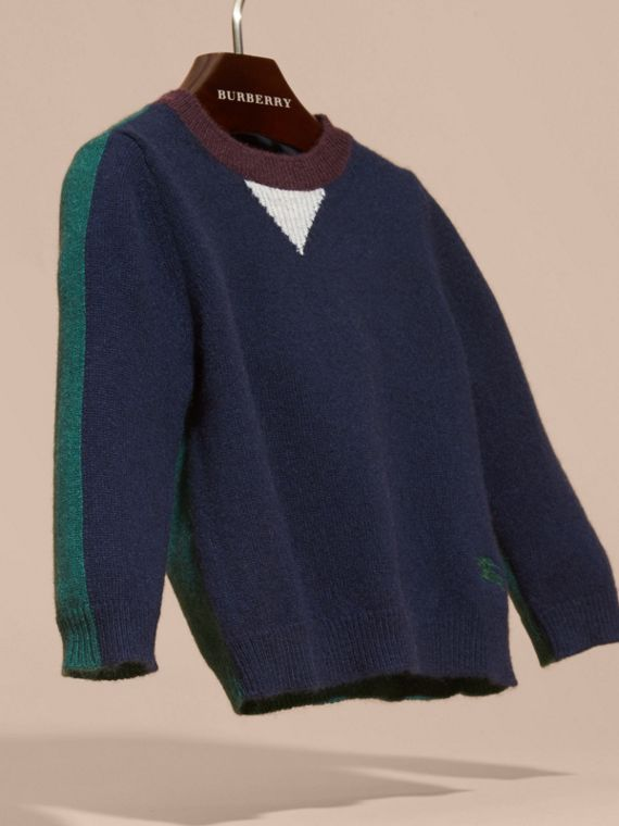 Navy Colour Block Cashmere Sweater - cell image 2