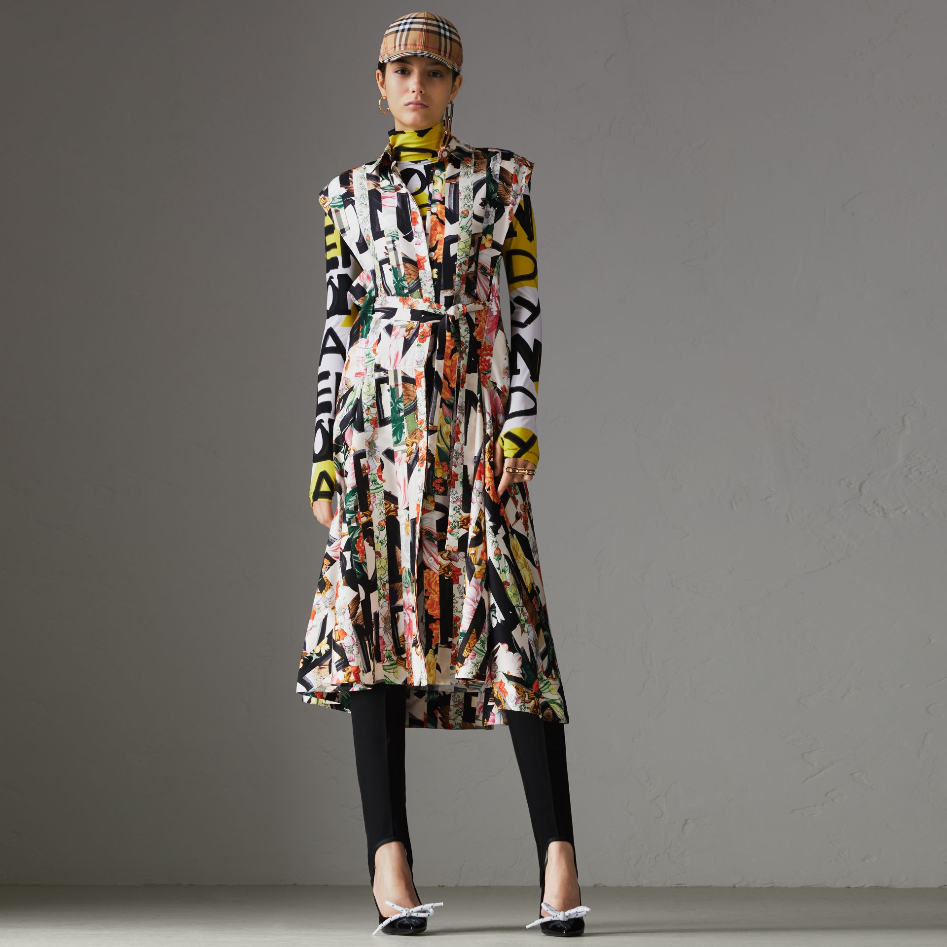 Graffiti Archive Scarf Print Silk Shirt Dress in Multicolour - Women | Burberry Canada - gallery image 0