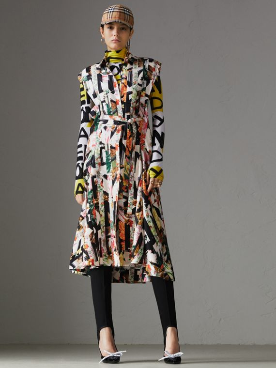 Graffiti Archive Scarf Print Silk Shirt Dress in Multicolour