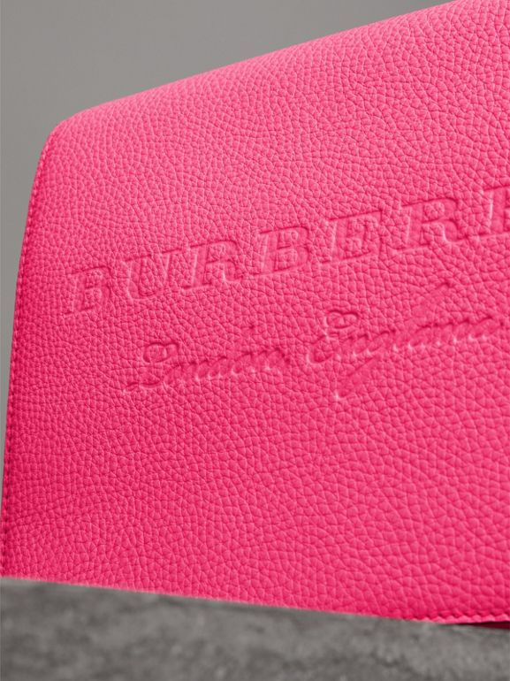 Medium Embossed Leather Messenger Bag in Neon Pink | Burberry - cell image 1
