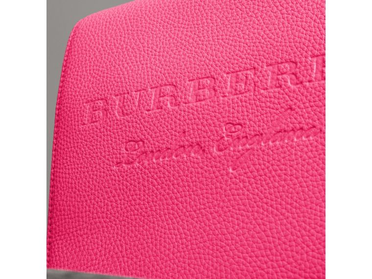 Medium Embossed Leather Messenger Bag in Neon Pink | Burberry United Kingdom - cell image 1