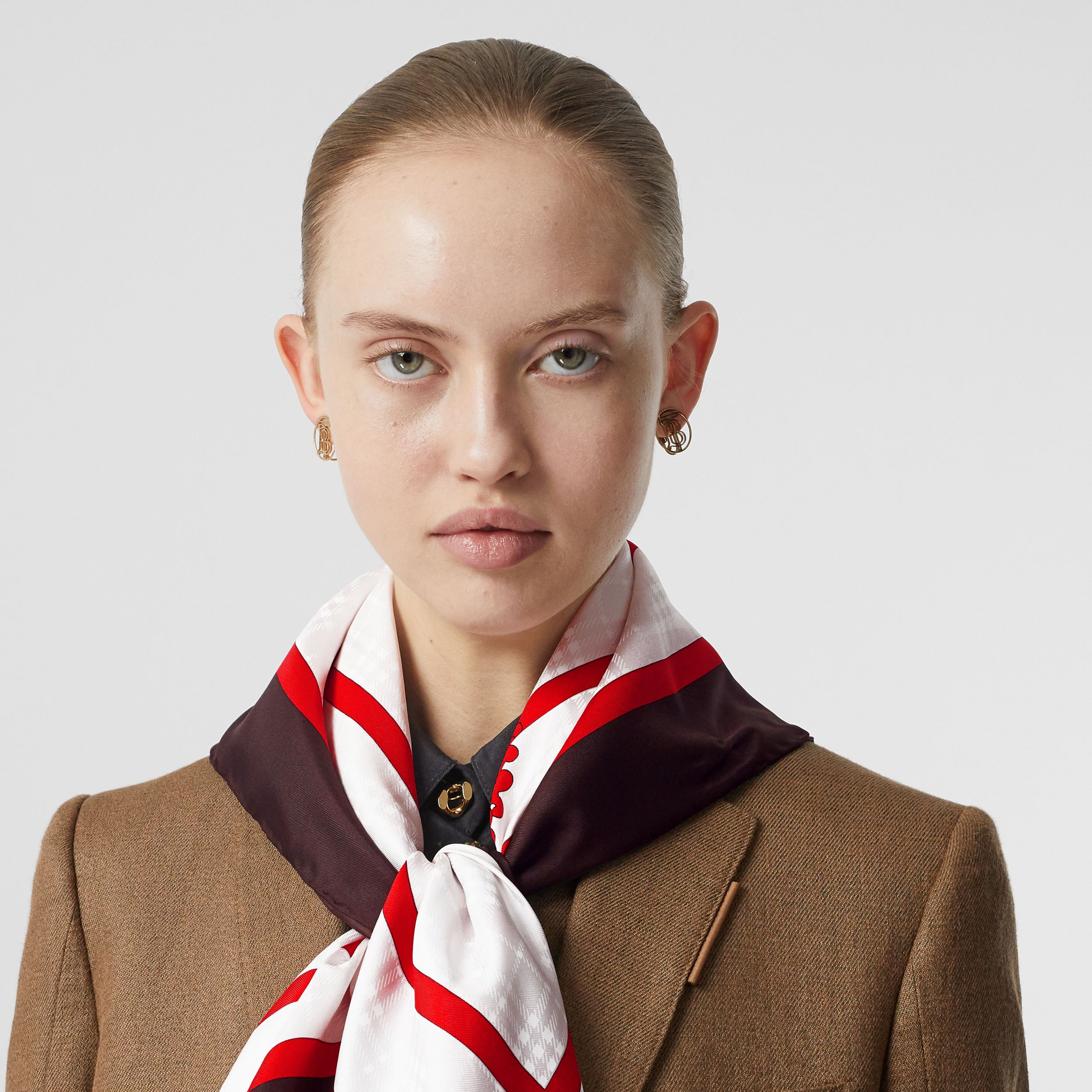 Archive Society Print Silk Square Scarf in Mahogany | Burberry Hong Kong S.A.R. - 3