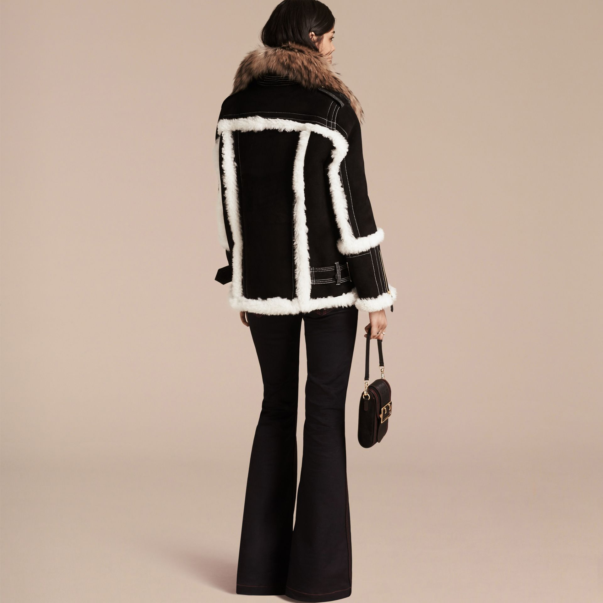 Black Fur-trim Suede and Shearling Aviator Jacket - gallery image 3