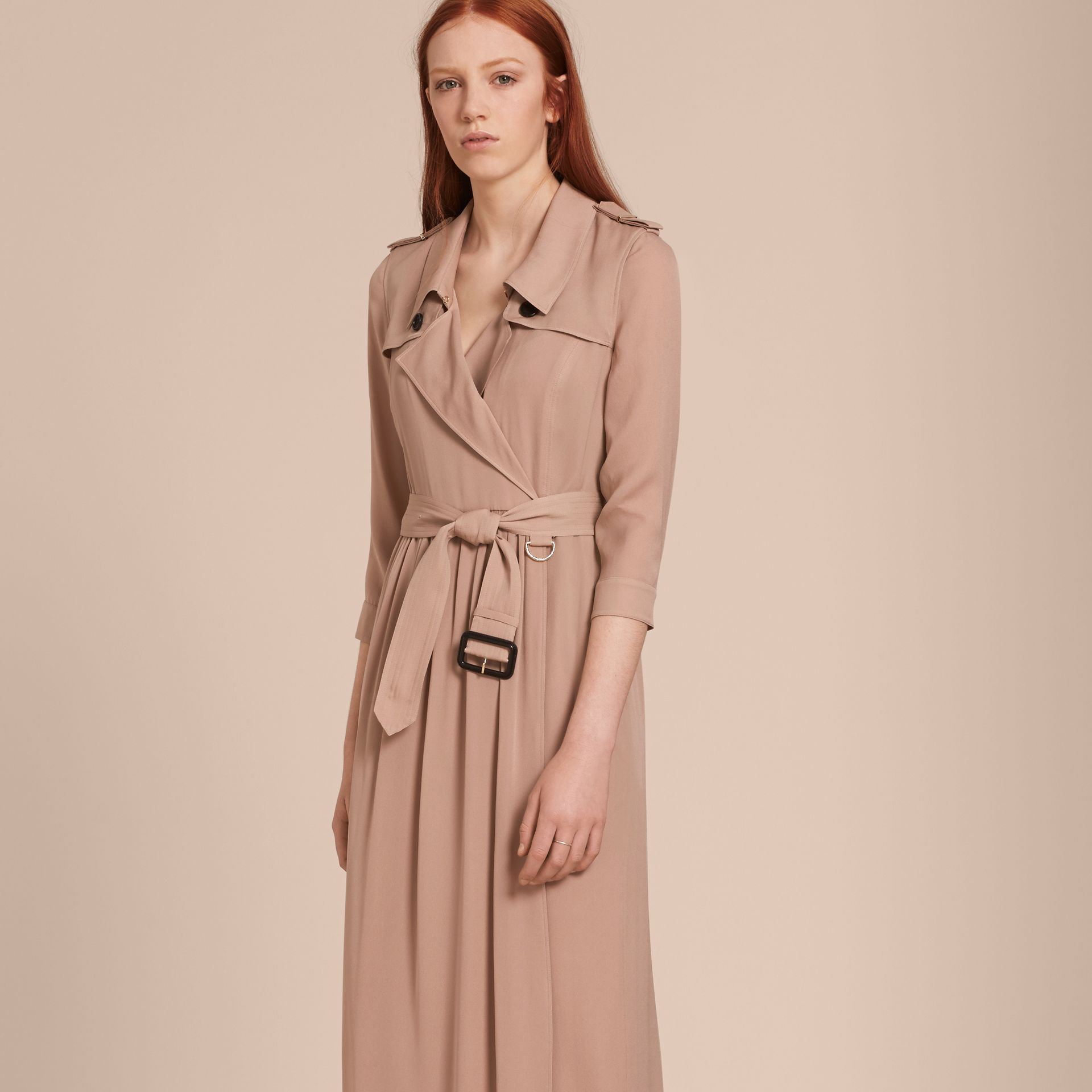 Silk Trench Dress in Nude - Women | Burberry - gallery image 7
