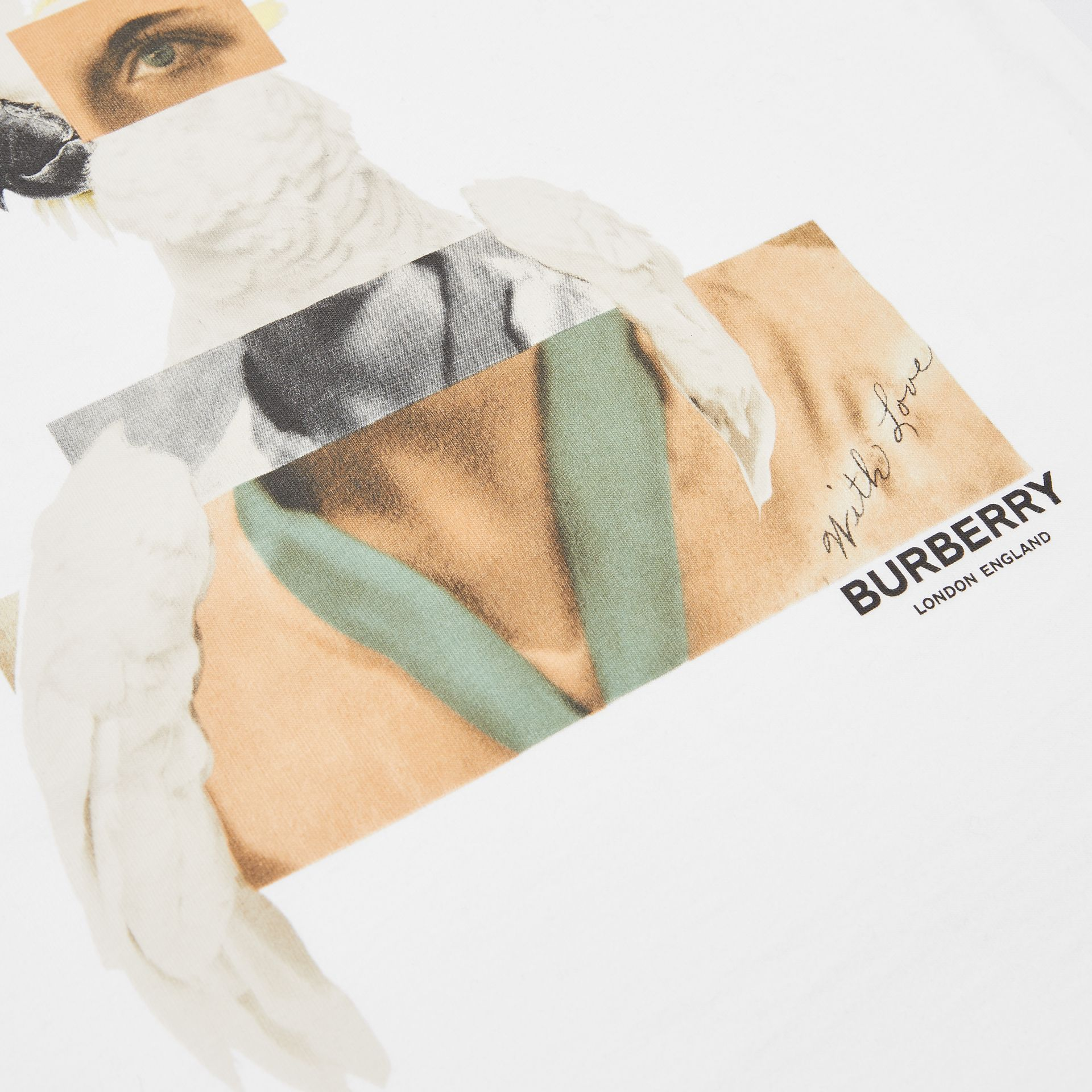 Collage Print Cotton T-shirt in White | Burberry - gallery image 1