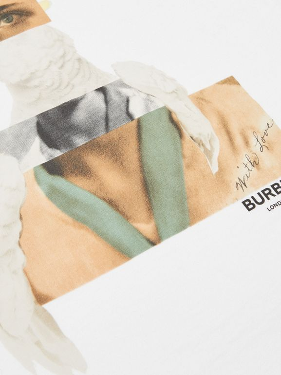 Collage Print Cotton T-shirt in White | Burberry Australia - cell image 1
