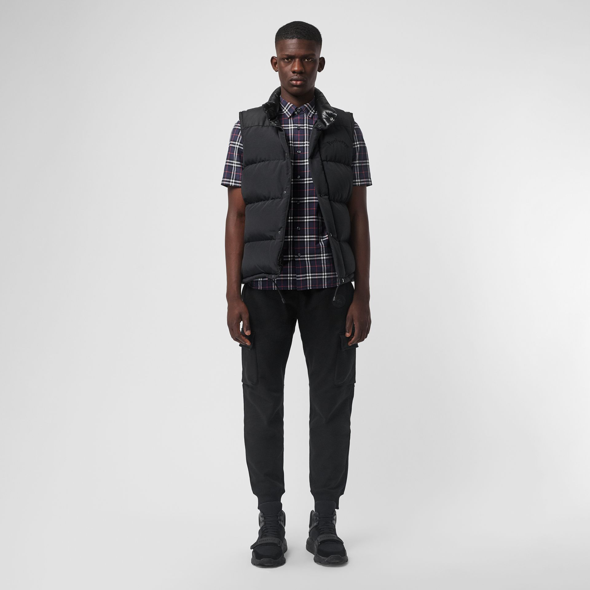 Short-sleeve Check Cotton Shirt in Navy - Men | Burberry - gallery image 4