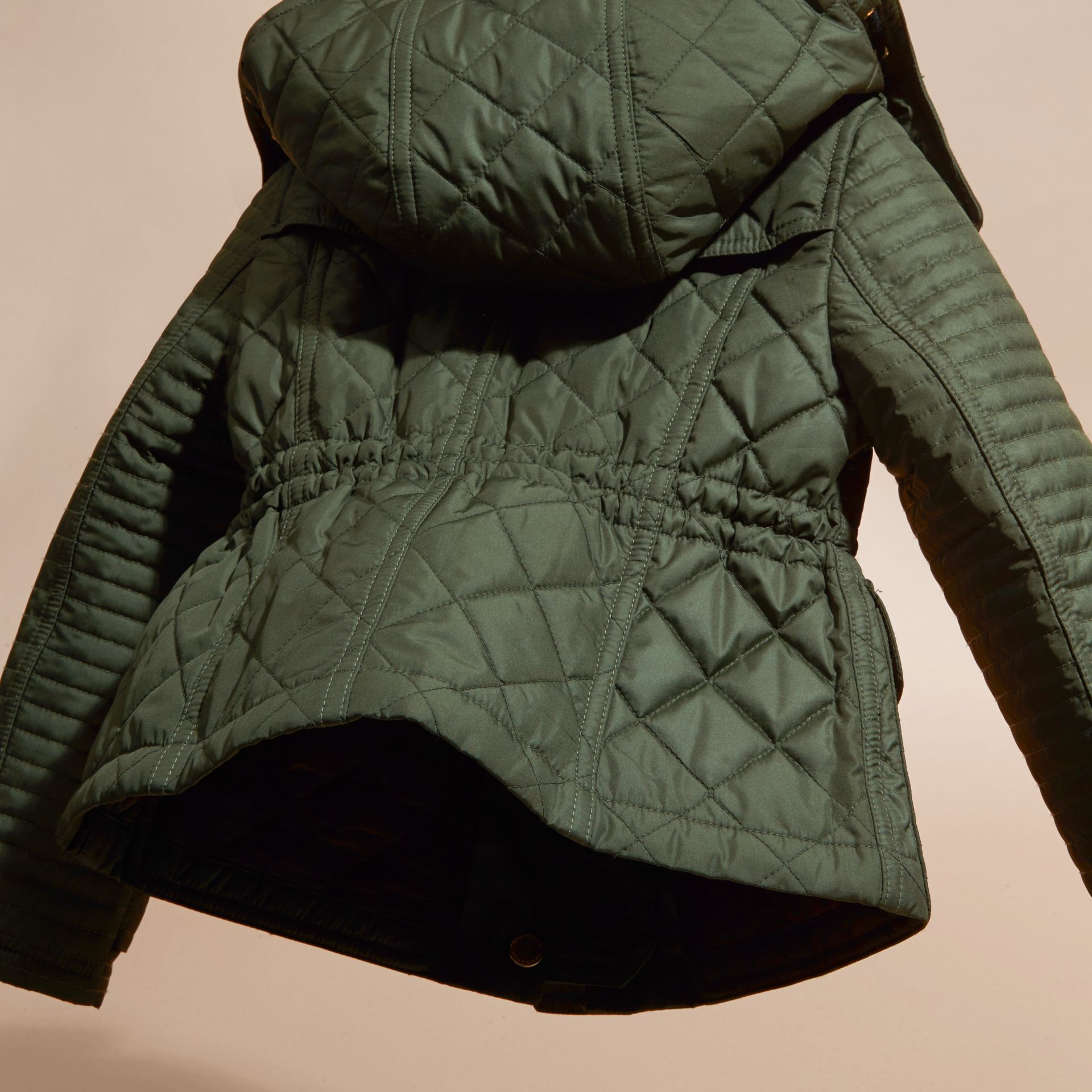 Olive Quilted Jacket with Detachable Hood - gallery image 4