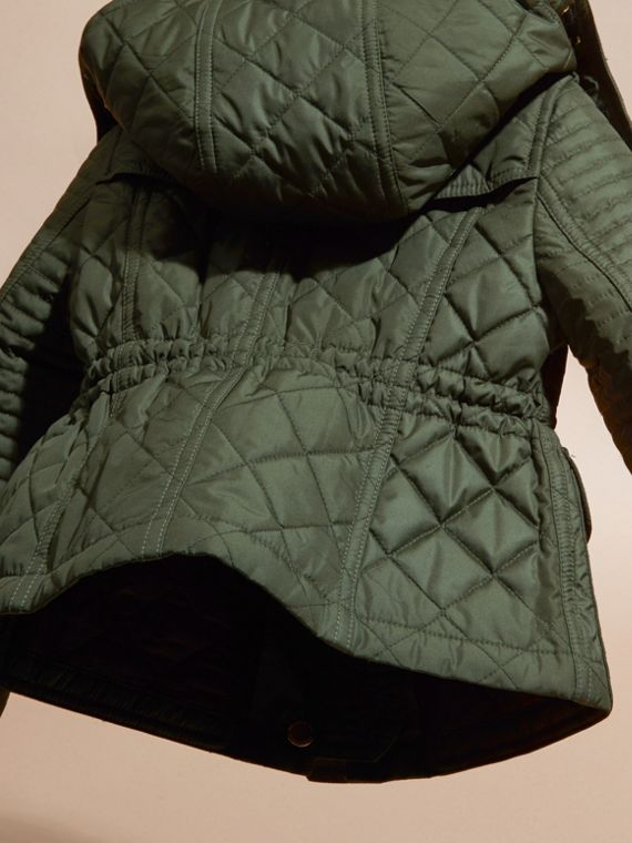 Olive Quilted Jacket with Detachable Hood - cell image 3