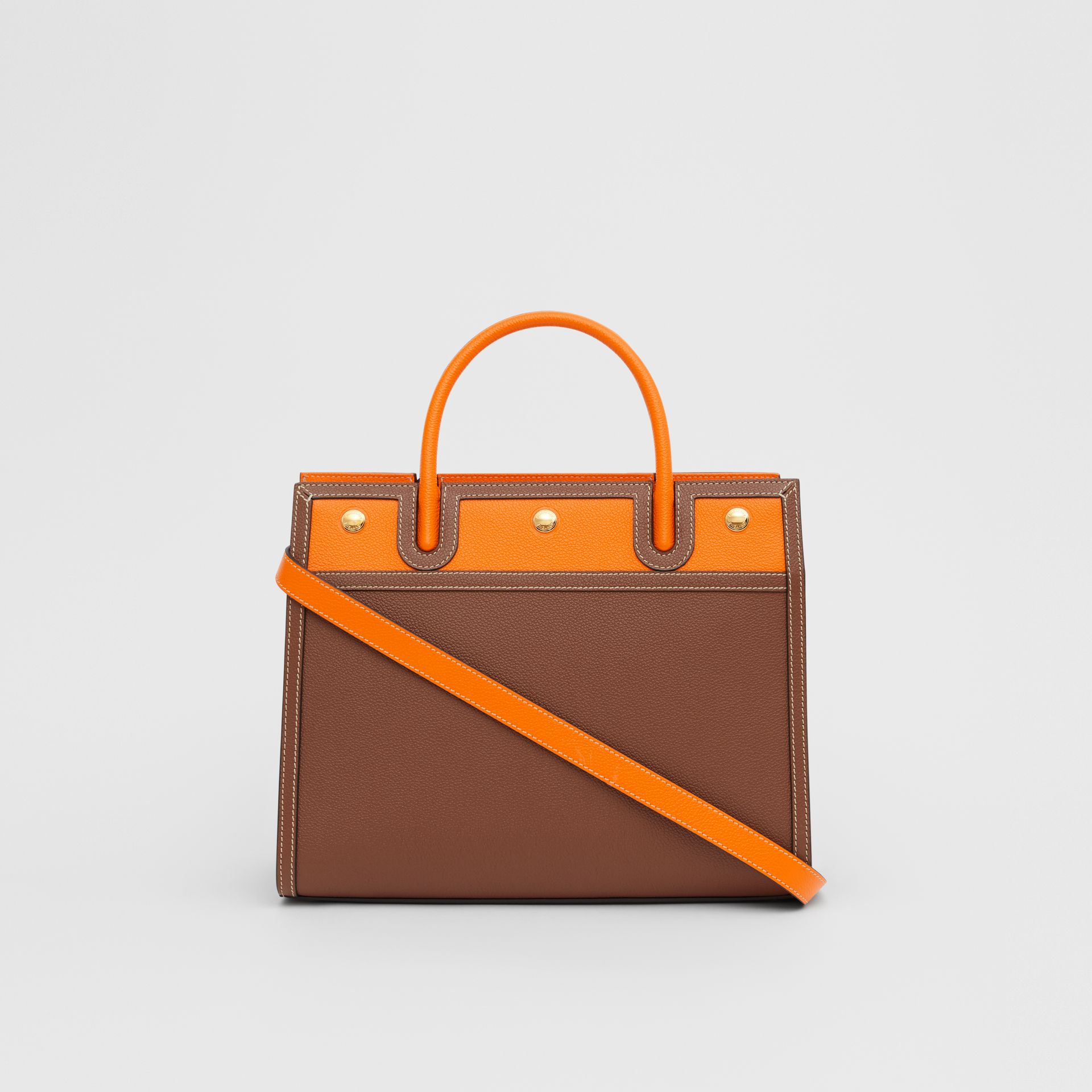 Small Leather Two-handle Title Bag in Tan/bright Orange - Women | Burberry - gallery image 7