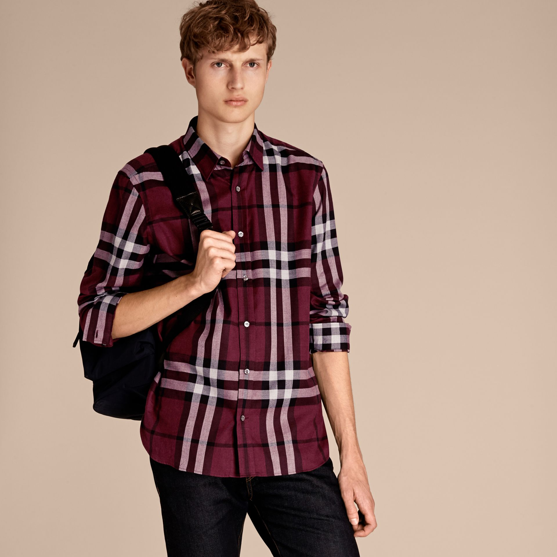 Deep claret Check Cotton Cashmere Flannel Shirt Deep Claret - gallery image 7
