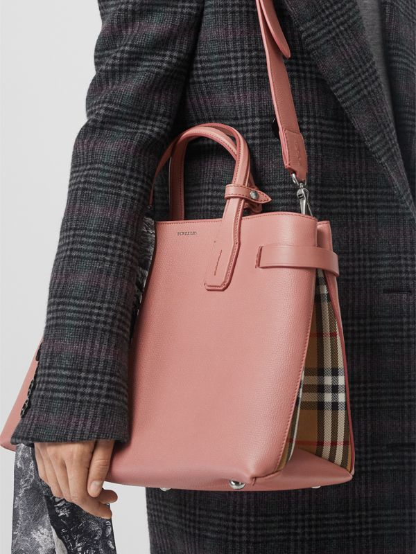 The Medium Banner in Leather and Vintage Check in Ash Rose - Women | Burberry Australia - cell image 3