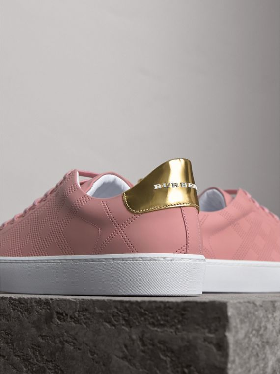 Perforated Check Leather Trainers in Rose Pink - Women | Burberry Australia - cell image 2