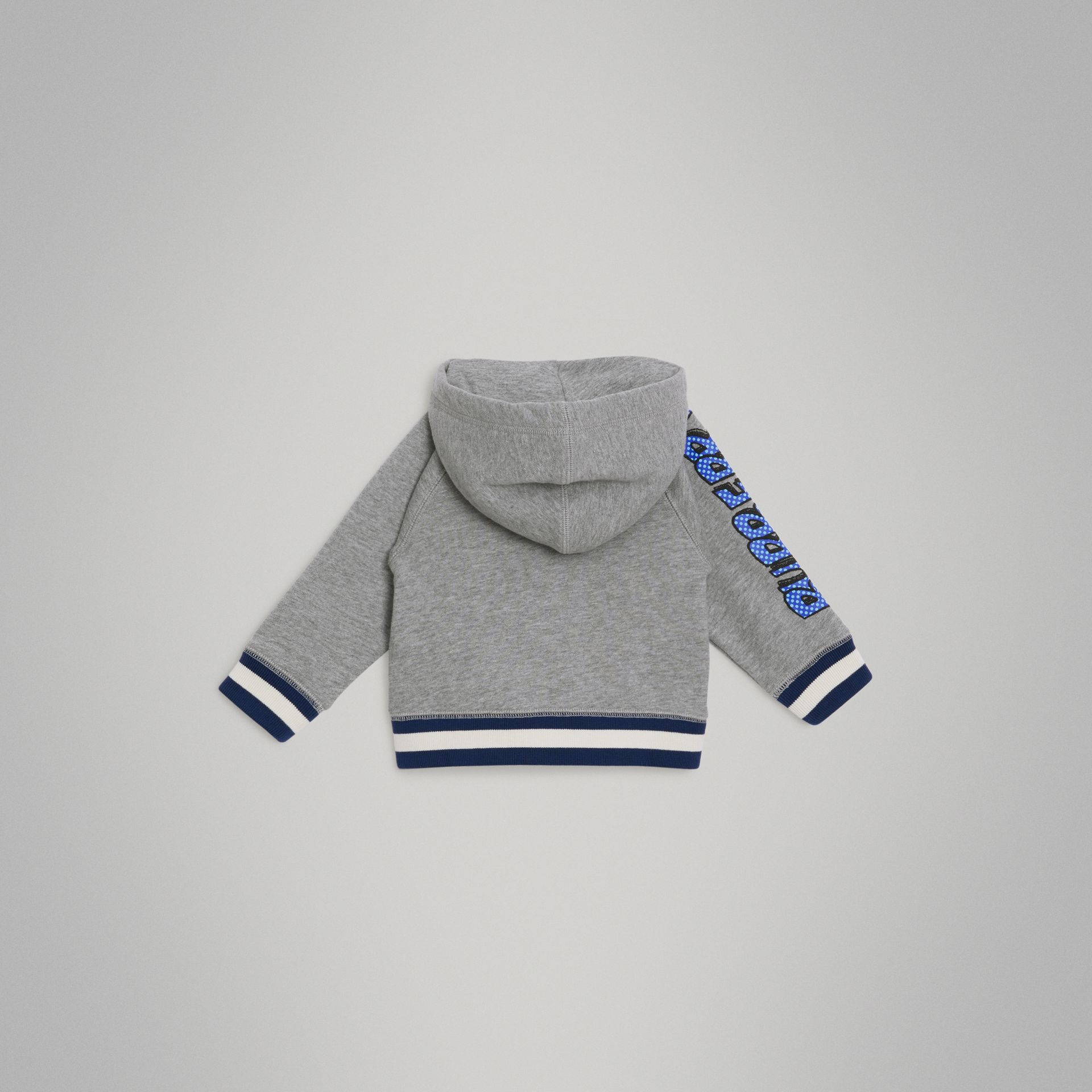 Patch Detail Cotton Hooded Top in Grey Melange - Children | Burberry United Kingdom - gallery image 3