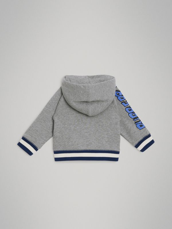 Patch Detail Cotton Hooded Top in Grey Melange - Children | Burberry United Kingdom - cell image 3