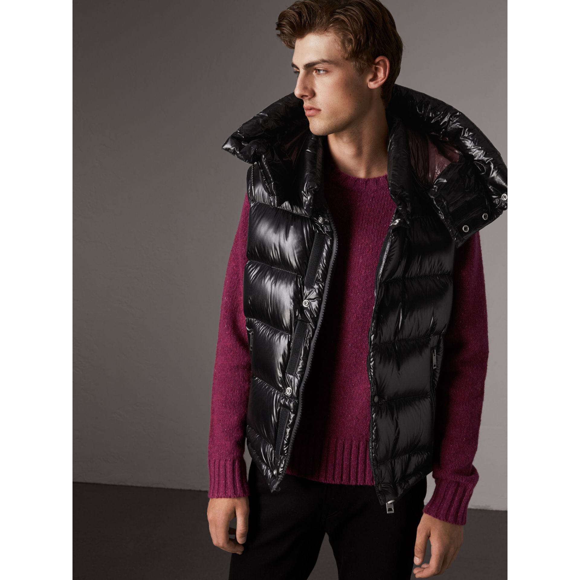Detachable Hood Down-filled Gilet in Black - Men | Burberry - gallery image 4
