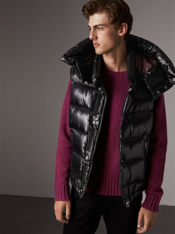 Detachable Hood Down-filled Gilet in Black