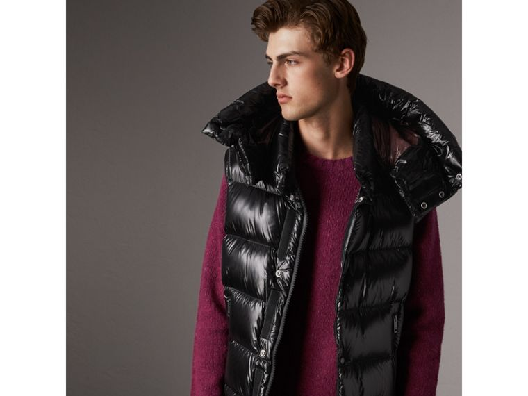 Detachable Hood Down-filled Gilet in Black - Men | Burberry Canada - cell image 4