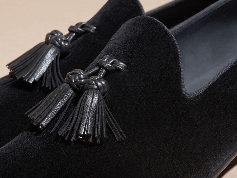 Noir Mocassins en velours avec pampilles - cell image 1