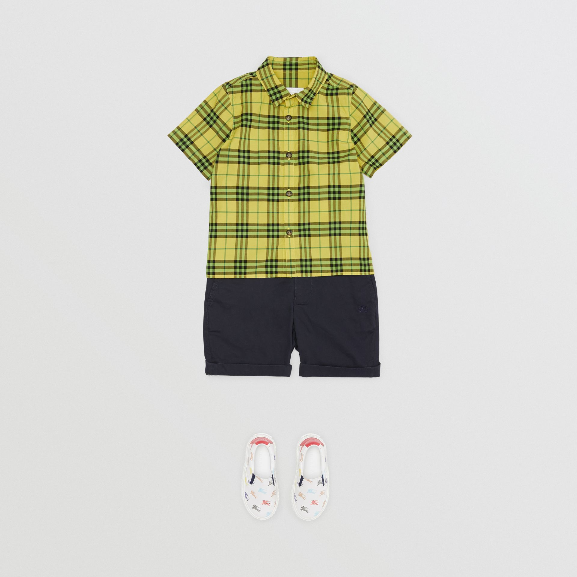 Short-sleeve Check Cotton Shirt in Citron | Burberry - gallery image 2