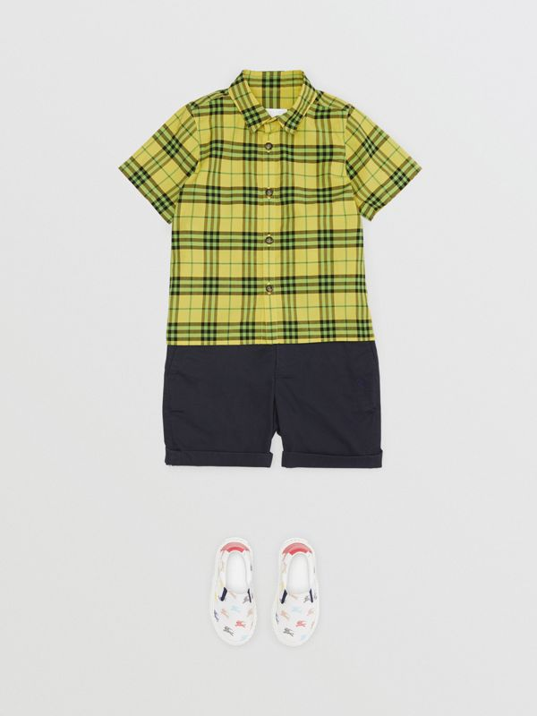 Short-sleeve Check Cotton Shirt in Citron | Burberry - cell image 2
