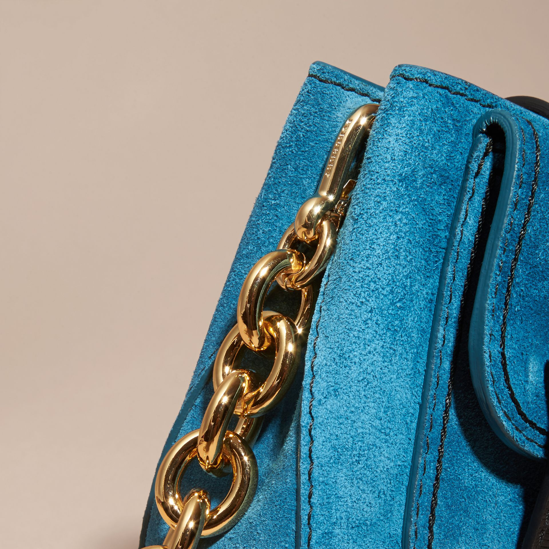 Peacock blue The Small Square Buckle Bag in Suede and Leather Peacock Blue - gallery image 7