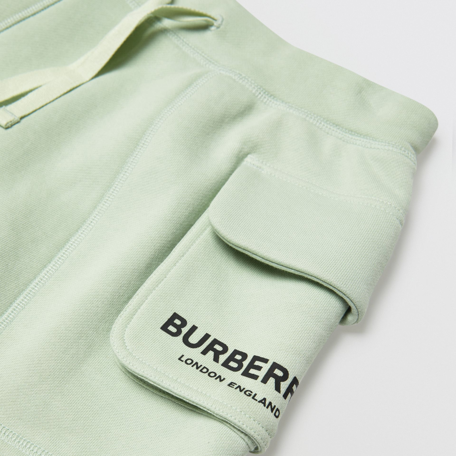 Logo Print Cotton Drawcord Shorts in Pale Mint | Burberry - gallery image 1