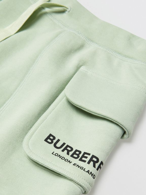 Logo Print Cotton Drawcord Shorts in Pale Mint | Burberry - cell image 1