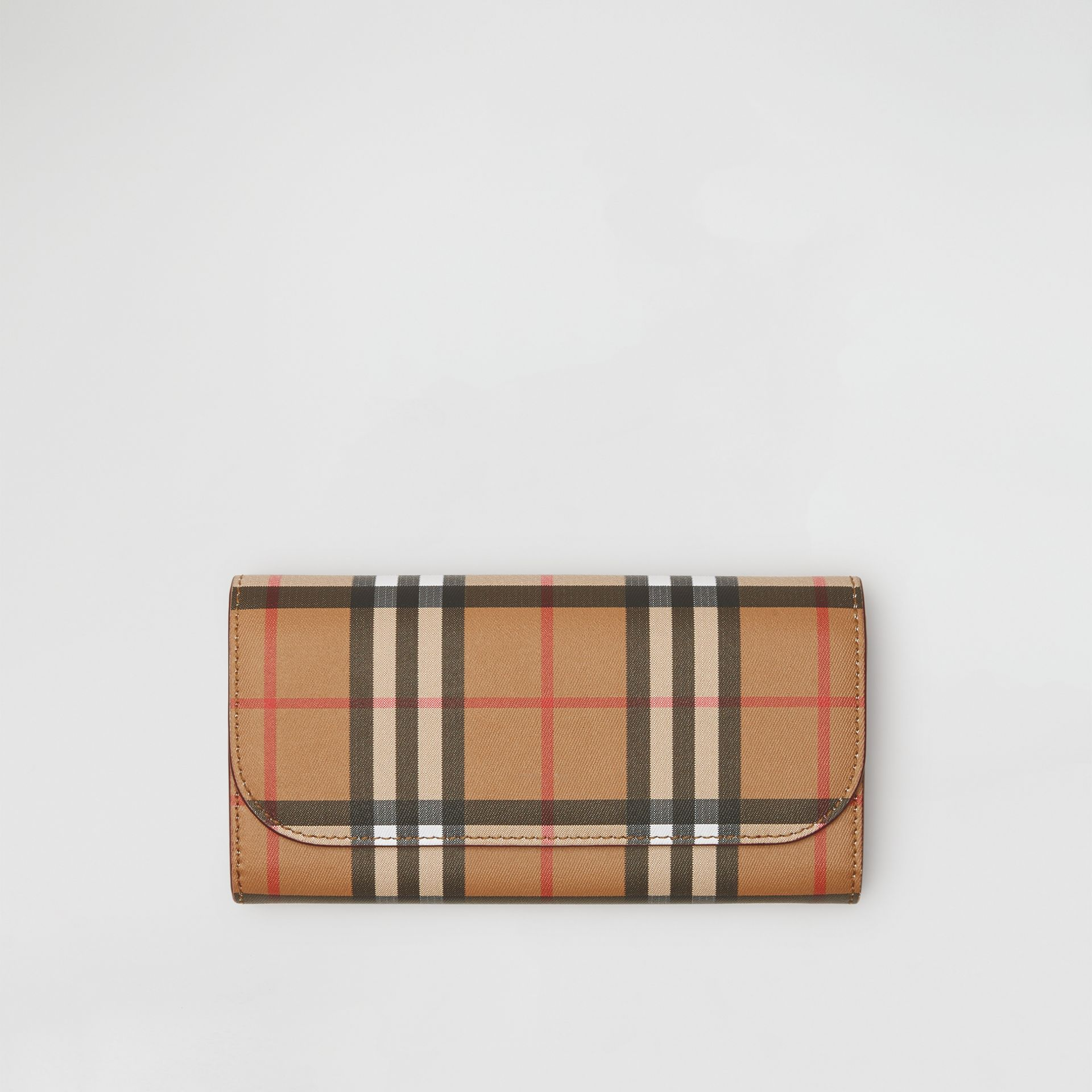 Vintage Check and Leather Continental Wallet in Crimson - Women | Burberry United States - gallery image 2