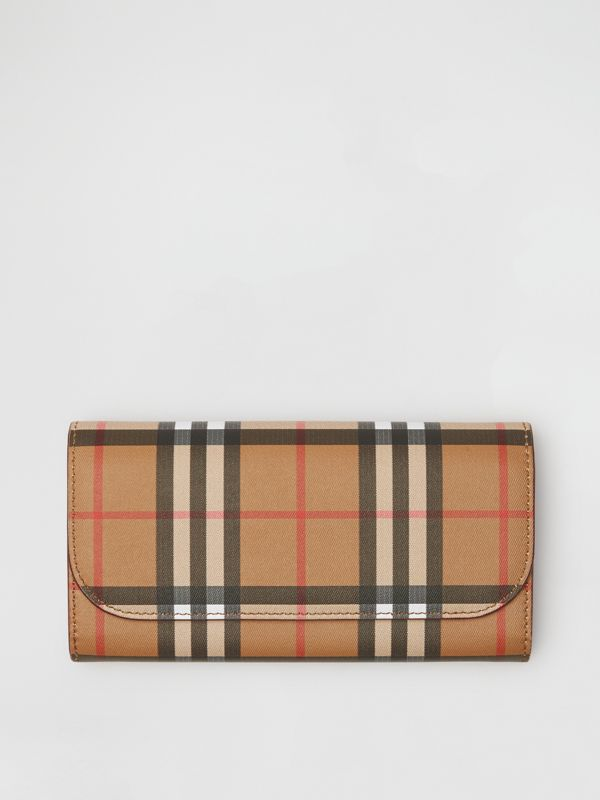 Vintage Check and Leather Continental Wallet in Crimson - Women | Burberry United States - cell image 2