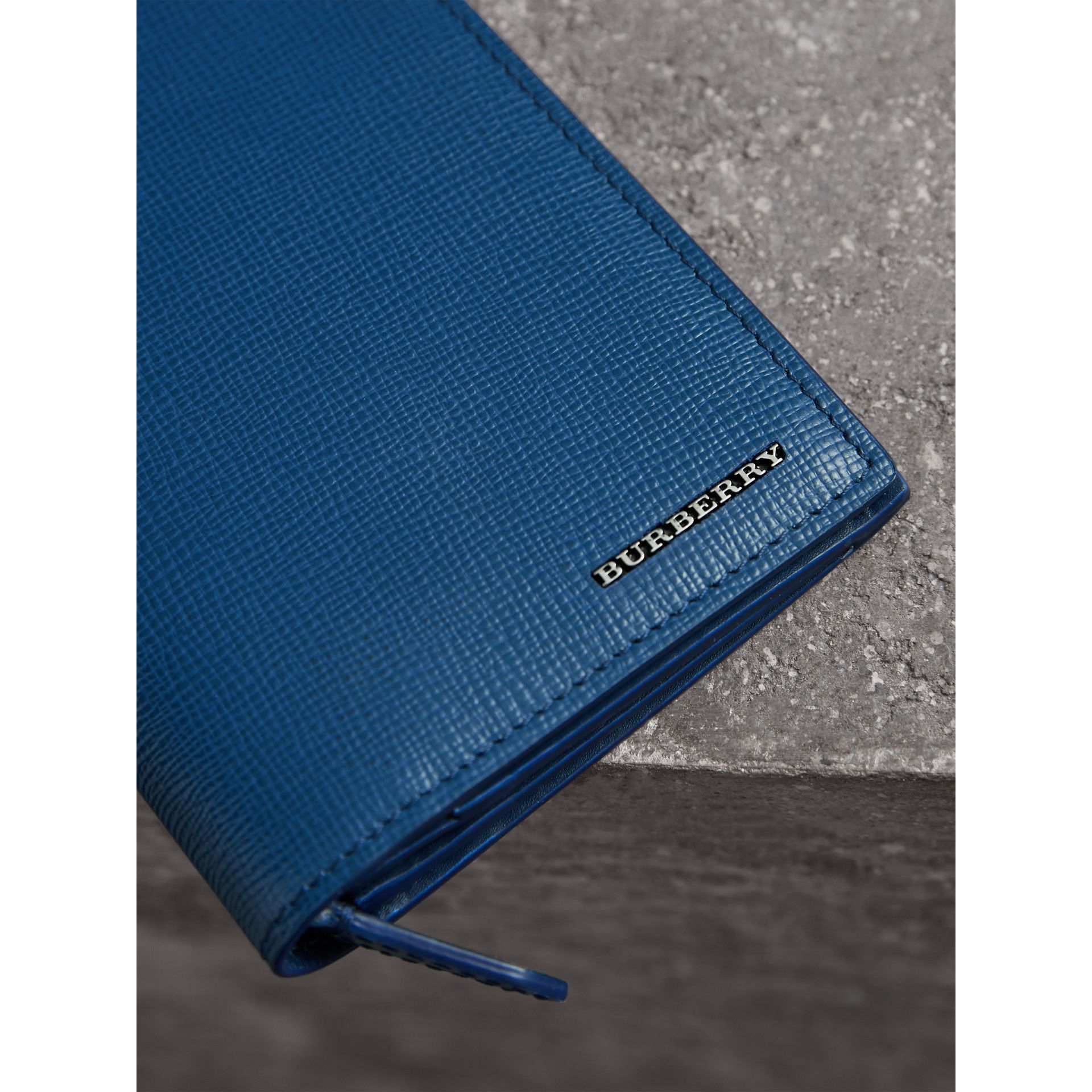 London Leather Continental Wallet in Deep Blue - Men | Burberry - gallery image 1