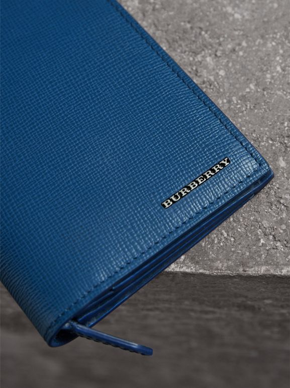 London Leather Continental Wallet in Deep Blue - Men | Burberry - cell image 1
