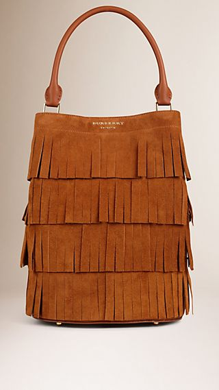 The Bucket Bag in Tiered Suede Fringing