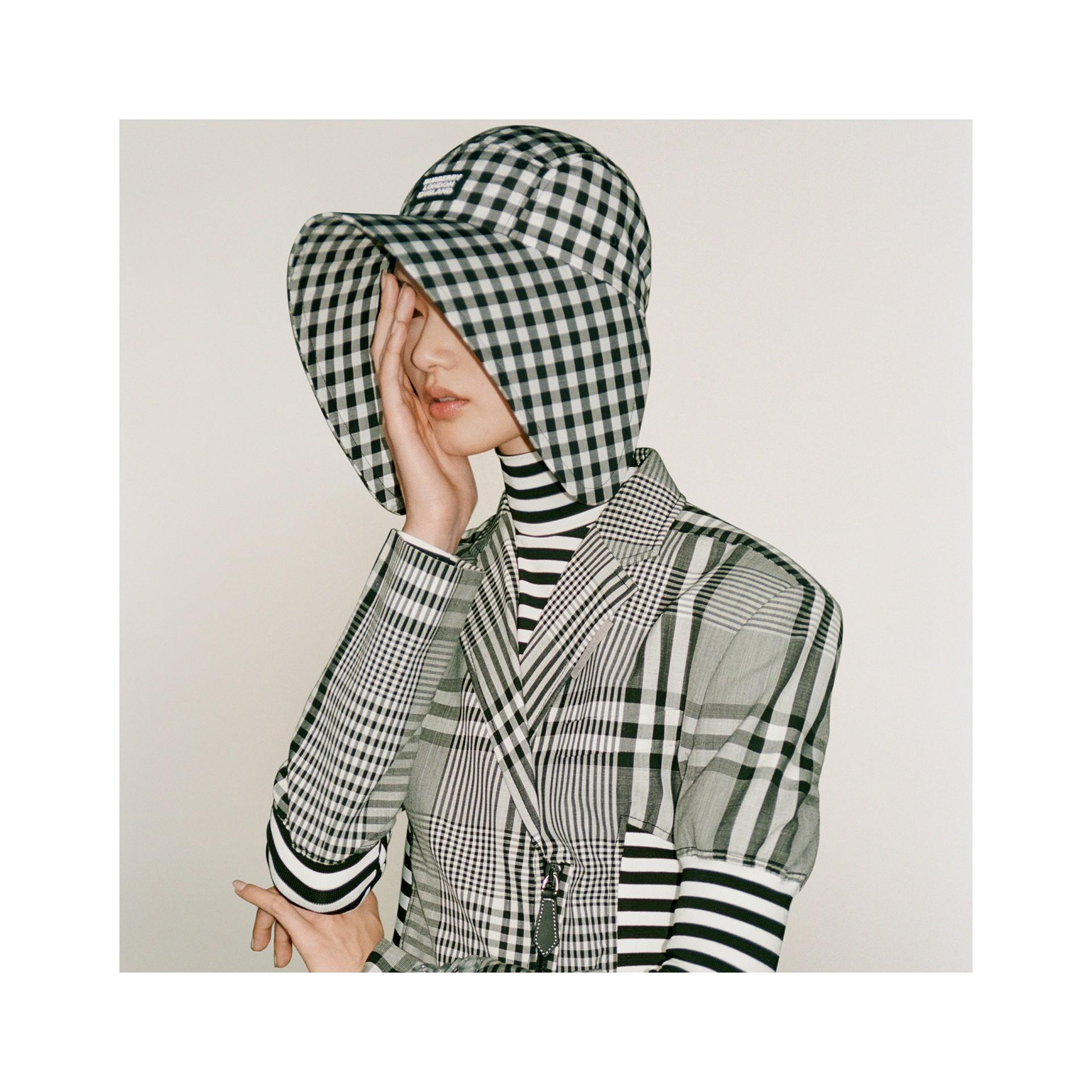 Logo Appliqué Gingham Cotton Bonnet Cap in Black/white | Burberry - gallery image 11