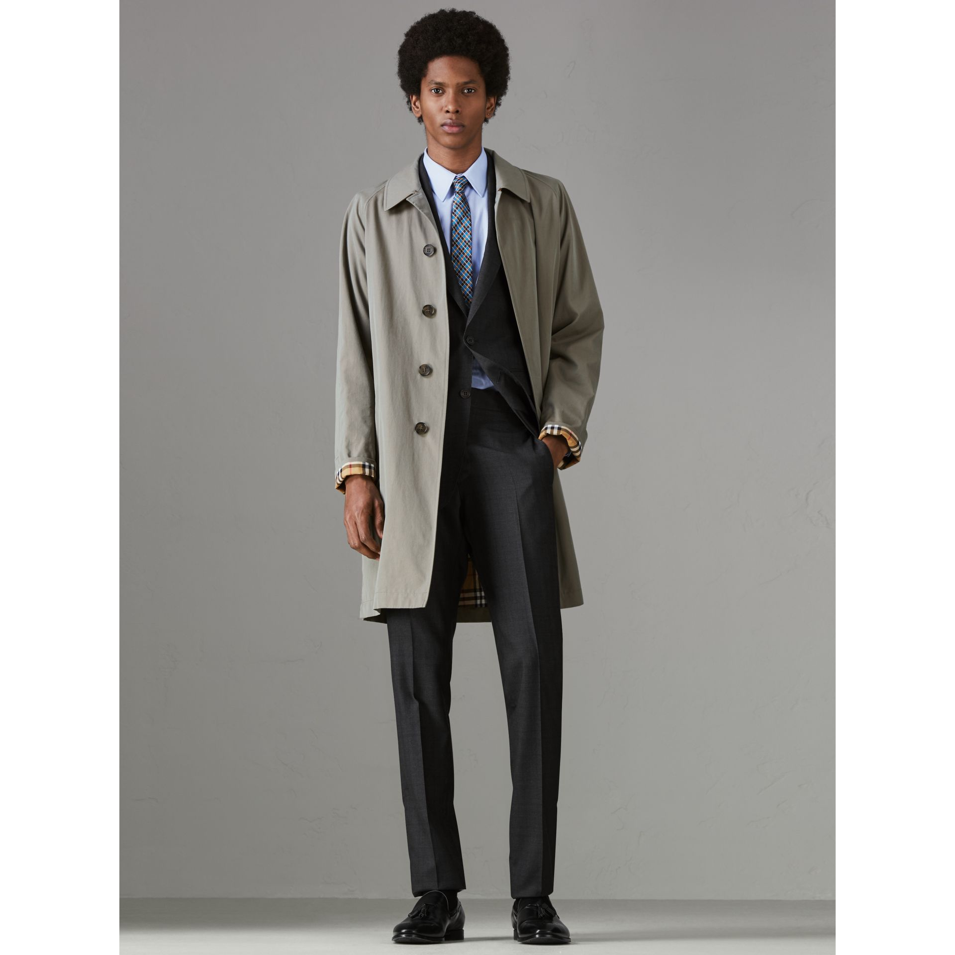 Slim Fit Prince of Wales Wool Silk Suit in Charcoal Melange - Men | Burberry - gallery image 7