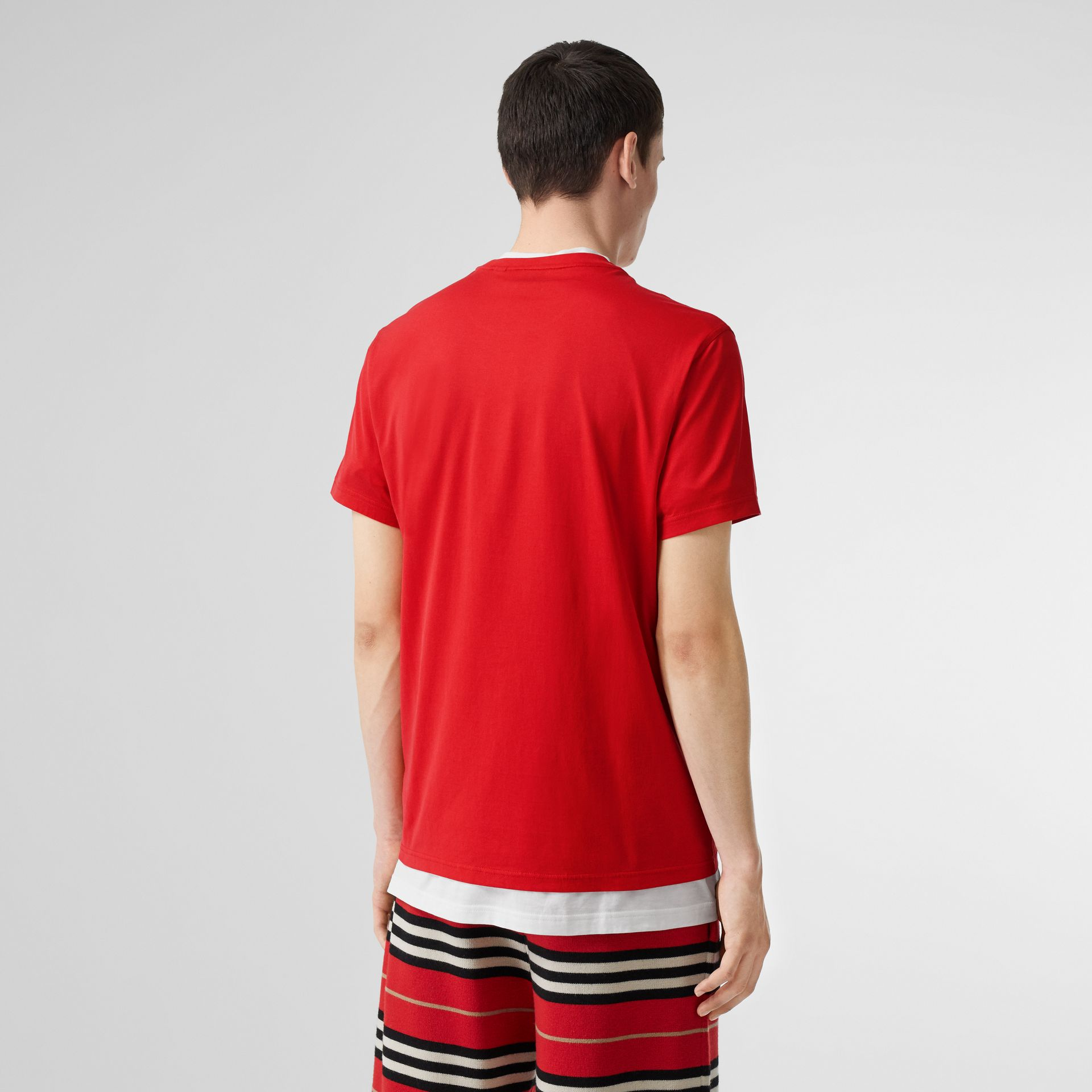 Monogram Motif Cotton T-shirt in Bright Red - Men | Burberry United Kingdom - gallery image 2