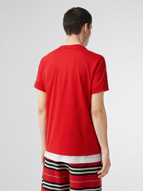 Monogram Motif Cotton T-shirt in Bright Red - Men | Burberry United Kingdom - cell image 2